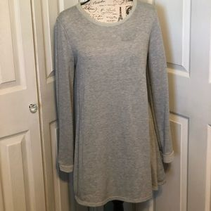 Tunic sweater with button detail